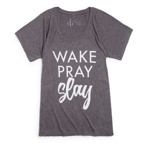 gray wake pray slay tee