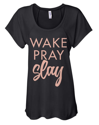 Dare to Be Wake Pray Slay Tee (Black & Blush)