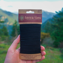 Load image into Gallery viewer, plastic free organic biodegradable hair ties terra ties black 27 pack