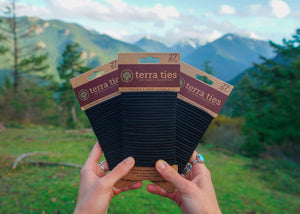 plastic free organic biodegradable hair ties terra ties black 27 pack
