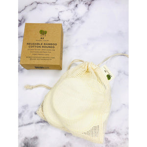 Reusable Bamboo Facial Rounds with Mesh Cotton Laundry Bag