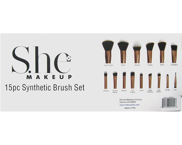 She Makeup 15pc Synthetic Brush Set