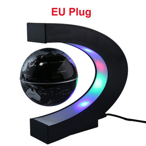 Home Floating Globe C Shape Magnetic Levitation World Map With LED Light