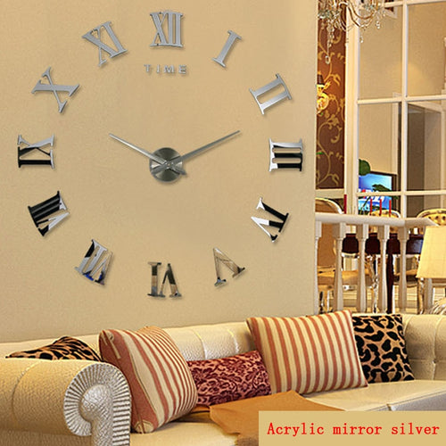 large diy roman mirror Quartz clock wall sticker
