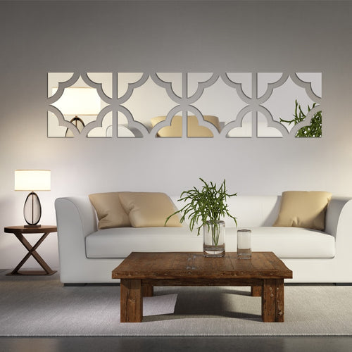 Large mirrored acrylic 3D Decorative Wall Stickers