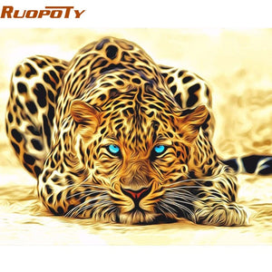 DIY Tiger  Acrylic Canvas Painting By Numbers Wall Art