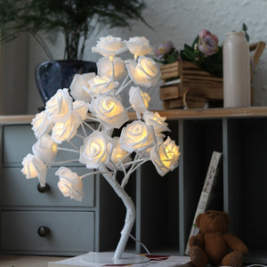 24 pcs LED White Pink Rose Flower Bedside Bedroom Night Light Tree