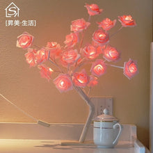 Load image into Gallery viewer, 24 pcs LED White Pink Rose Flower Bedside Bedroom Night Light Tree