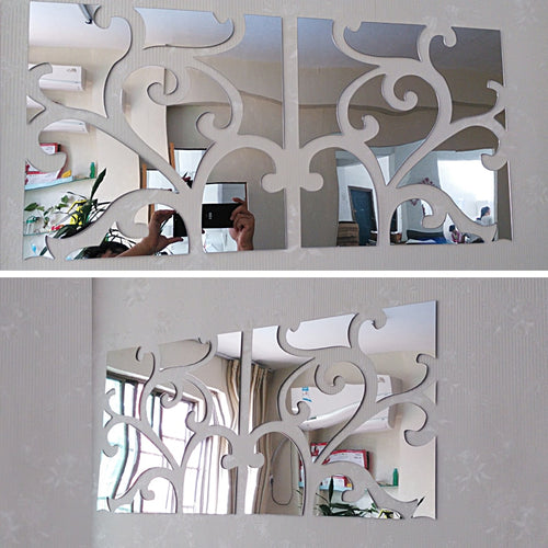diy large 3d decorative acrylic mirror wall sticker