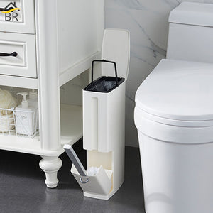 6L Plastic Trash Can with Toilet Brush Set Bathroom Waste Bin