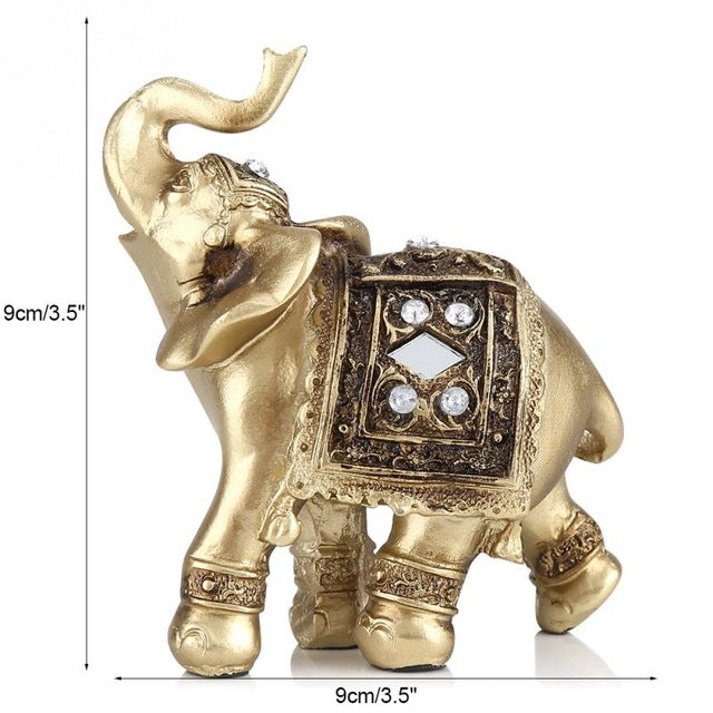 Feng Shui Elephant Statue Gold Color Resin Decorative Figurines Elephant With Diamond Souvenir Garden Figures Miniature