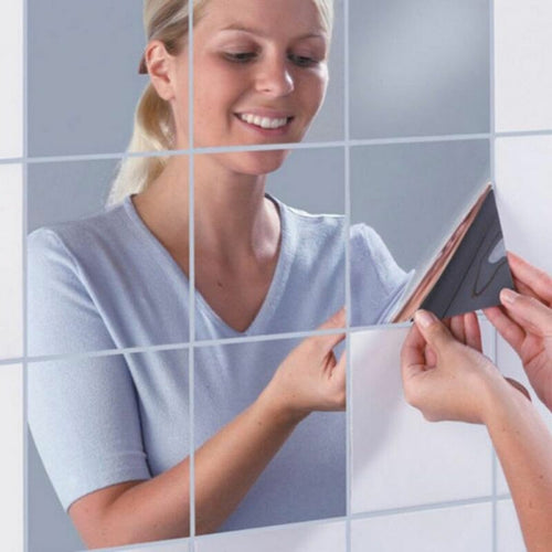 16PCS Silver mirror Self Adhesive Square Tile Wall Stickers