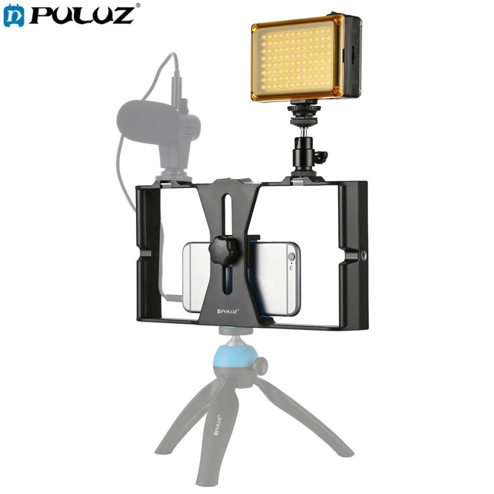 PULUZ 2 in 1 Live Broadcast LED Selfie Light Studio Light Smartphone Video Rig Kits With Tripod Head For Mobile Phone Drop Ship