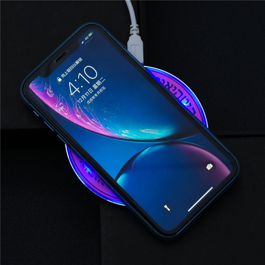 Glowing Magic Array Qi Wireless Charger Pad For Apple Watch iPhone X Xs Max XR Desktop Fast Wireless For Samsung For iPhone