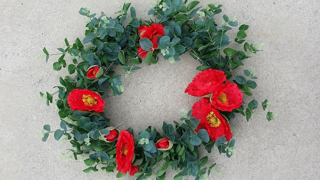 Poppy and Eucalyptus Wreath 1093
