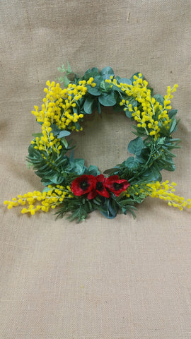 Travel wreath poppy wattle eucalyptus 35 cm 5430