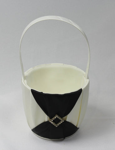Bridal Petal Baskets with Black Sash (white or ivory)