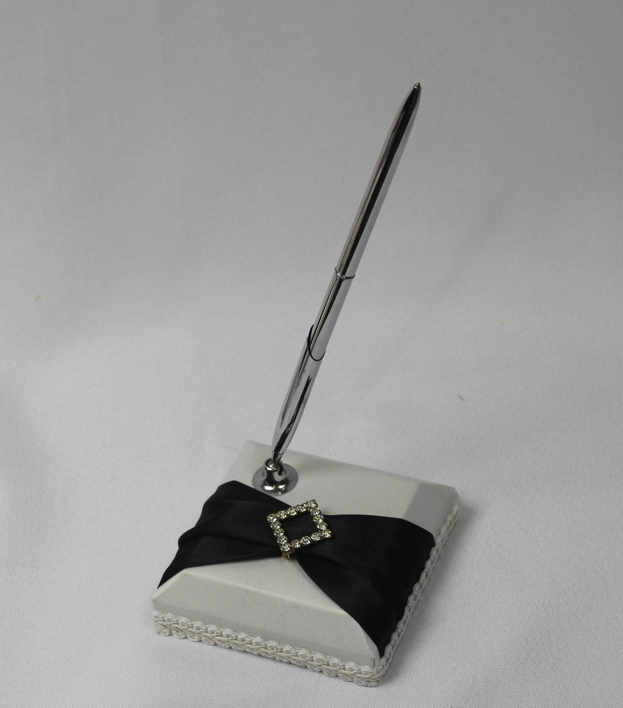 Diamond Bridal Pen and Holder with Black Sash 5182