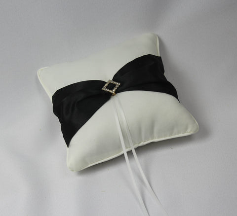 Bridal Ring Cushion With Black Sash (white or ivory)