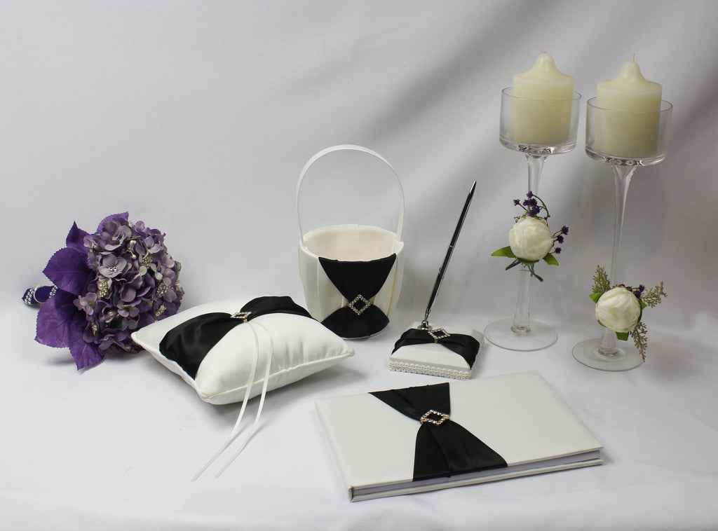 Black Sash Diamond Wedding Accessory Set 5353