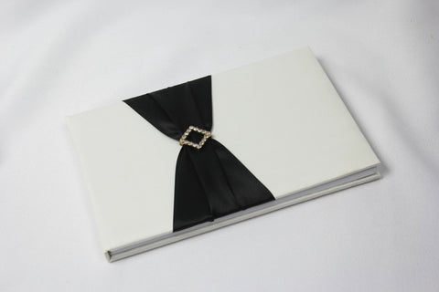 Wedding Guest Book with Black Sash (white or ivory) 5202