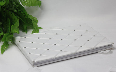 White criss-cross pattern with diamonte Wedding Guest Book 4113