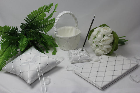 Criss-cross Diamond Wedding Accessory Set