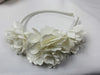 Flower Headband Ivory Satin 4061