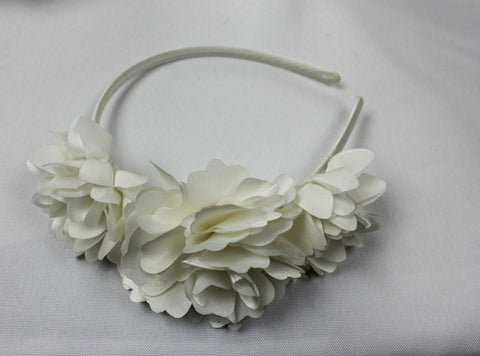 Flower Headband Ivory Satin