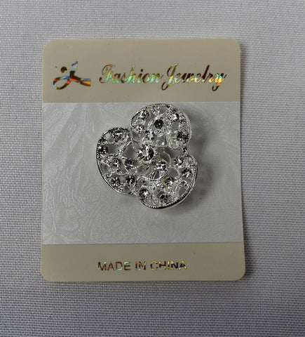 Diamonte Clover Brooch