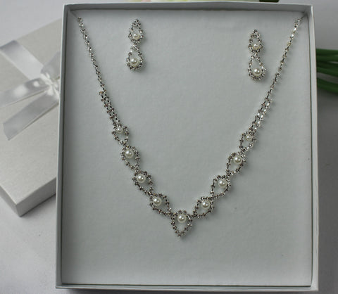 Diamonte and Faux Pearl Set