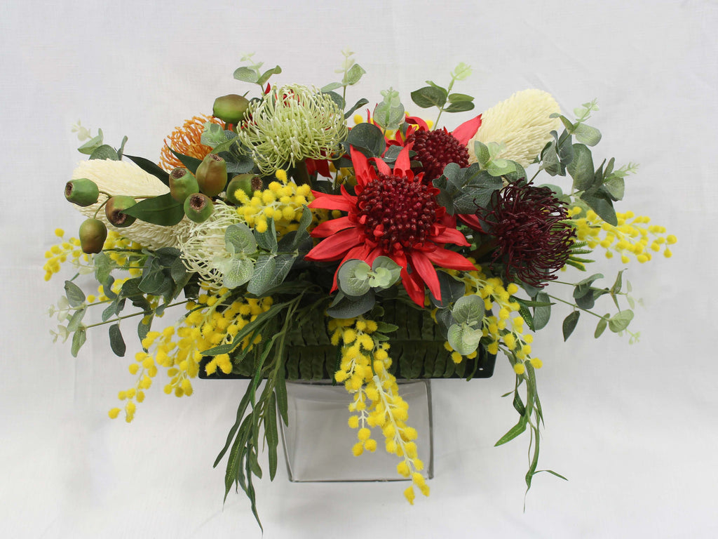 Australian Farewell Casket Arrangement Silk Flowers