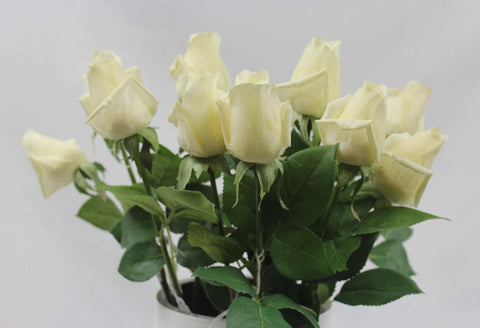 Real Touch Long Stem Ivory Rose Bud  #1128