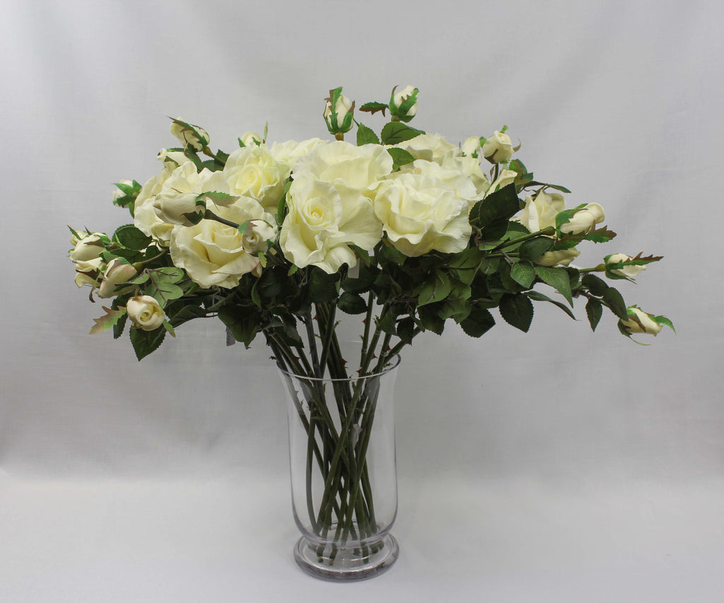 Ivory Real-touch Trio Rose Stem