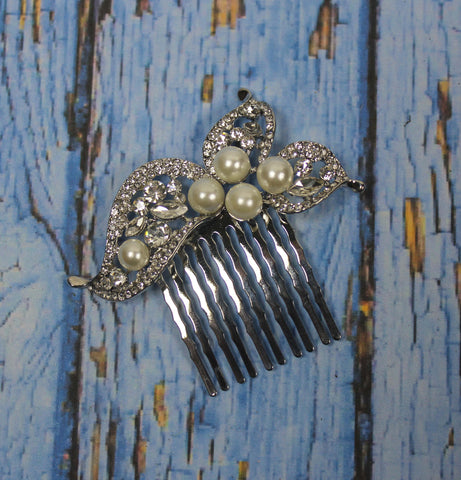 Diamonte Leaf & Faux Pearl Hair Comb