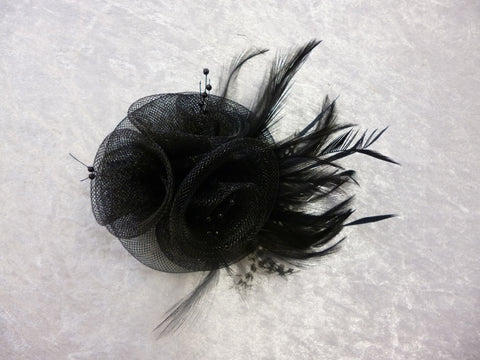 Fascinator feathered black 1747