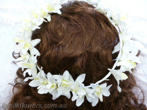 Orchid headdress white yellow 25cm 1942