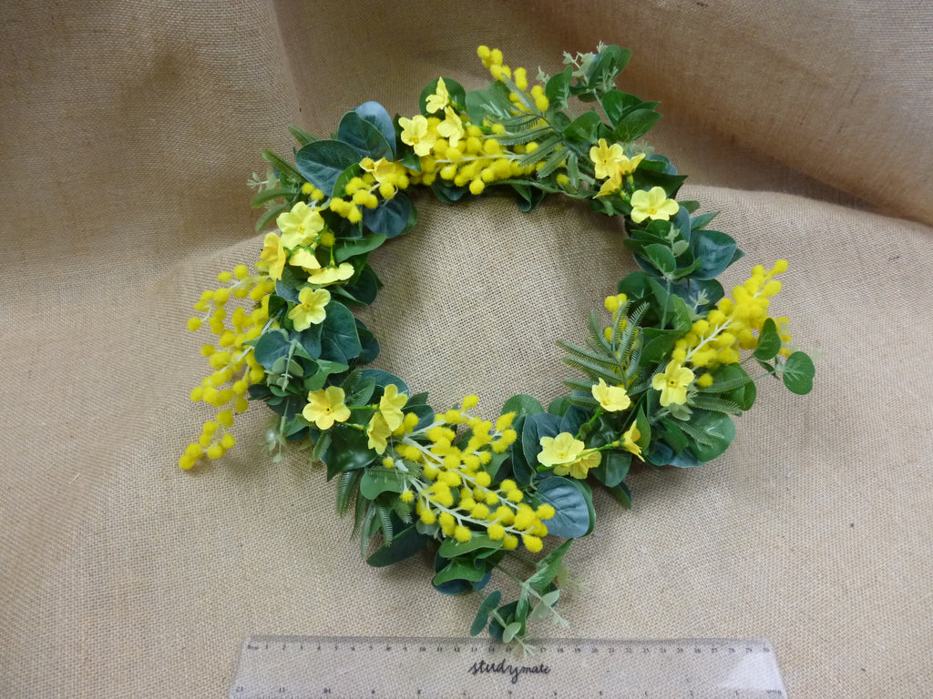 Wattle and spring blossom travel wreath 5438
