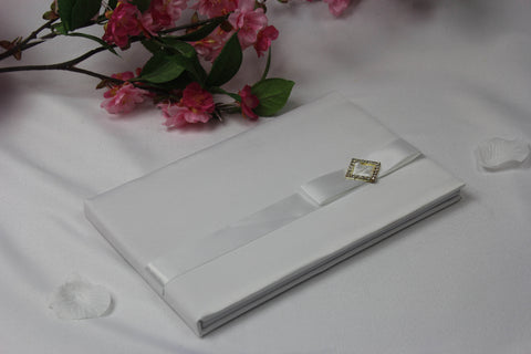 White Diamonte Wedding Guest Book 4114