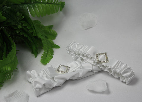 Two Piece Garter Set Diamonte Diamond Embellish
