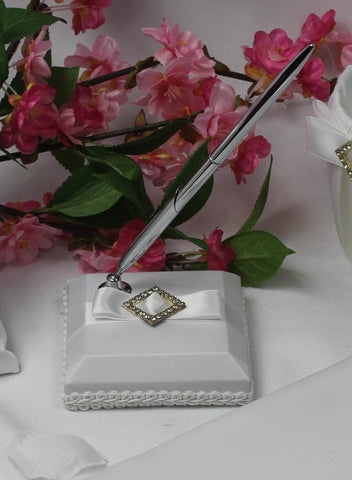 White Bridal Pen and Holder with Diamonte Centre