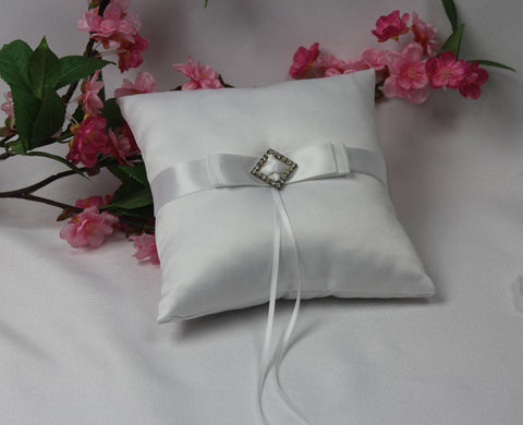 White Bridal Ring Cushion with Diamonte Centre