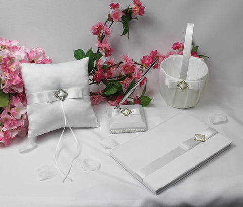 White Diamond Wedding Accessory Set