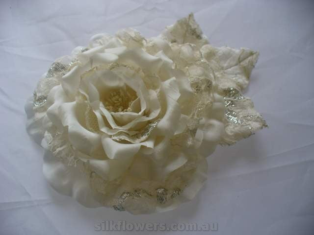 Open Silk Rose with Lace