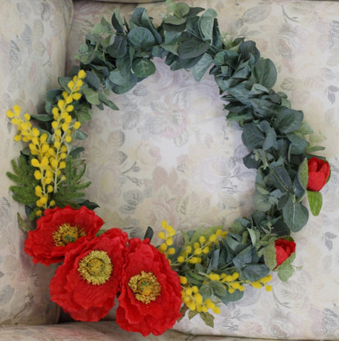 Large Poppy and Wattle Wreath 45cm 5351