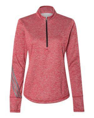 Adidas Women's Brushed Terry Heathered Quarter-Zip Pullover