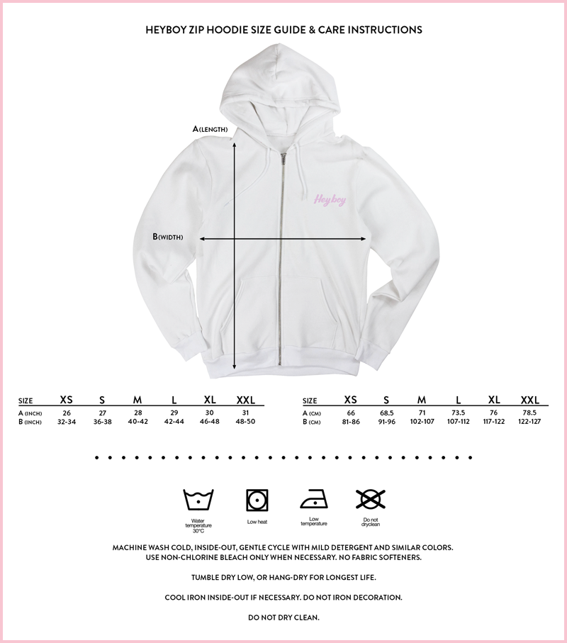 Heyboy Gay Zip Hoodie size and care