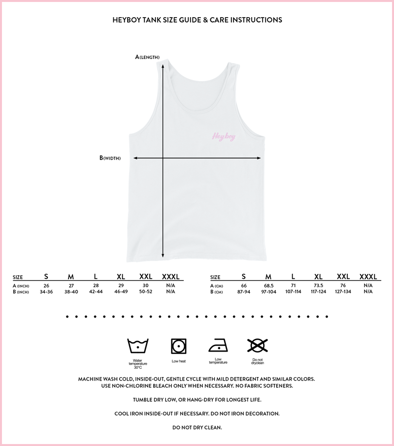 Heyboy LGBTQ Tank size and care