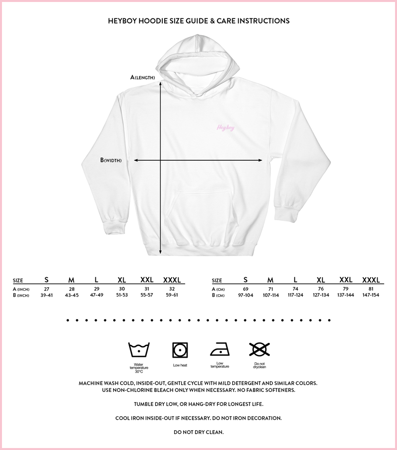 Heyboy Gay Hoodie size and care