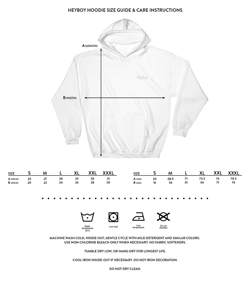 Heybo Gay Hoodie size and care